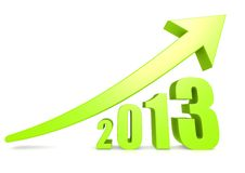 Growth of 2013. A rendered artwork with white background stock illustration