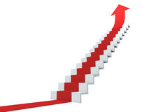 Growth. Red arrow following the stairs of growth Royalty Free Stock Image