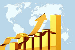 Growth. Concept  illustration diagram growth on global world map background Stock Photos