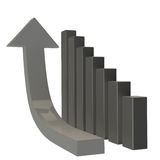 Growth. 3d arrow raising up and showing the growth of the excellent market Stock Photography