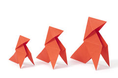 Growth. Three origami birds on white background. Concept of growth Stock Photos