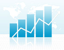 Growth. Illustration of a bar chart and Arrow representing business & finance growth on world map background Royalty Free Stock Image