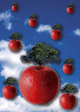 Growth. Surrealistic image of growth with apples with trees growing out of them vector illustration