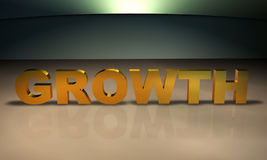 Growth 3D Text in gold. Business Concept Text: An emphasis on growth Royalty Free Stock Photography