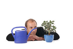 Growth. Man is caring for his plant Stock Photos