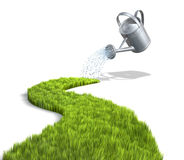 Growth. 3D concept with watering grass and the can Royalty Free Stock Photo