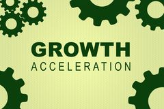GROWTH ACCELERATION concept. GROWTH ACCELERATION sign concept illustration with green gear wheel figures on pale green background Royalty Free Stock Photos