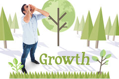 Growth against forest with earth tree Royalty Free Stock Images