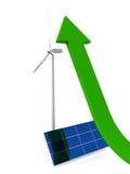 Growth of alternative energy. Green arrow pointing upwards next to solar panel and wind turbine Stock Photos