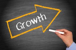 Growth arrow on blackboard Royalty Free Stock Image