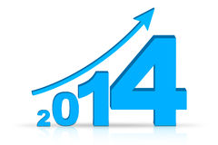 Growth 2014 with arrow. 3D arrow with year 2014 pointing up Royalty Free Stock Image