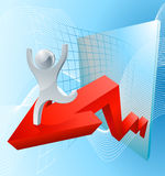 Growth arrow graph concept. With a character riding high on success Royalty Free Stock Images