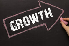 Growth - Arrow with text and female hand Stock Image