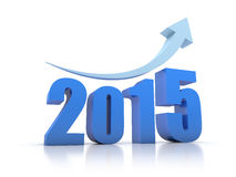 Growth 2015 With Arrow. In white background Stock Photos