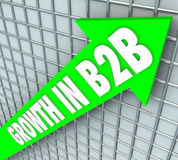 Growth in B2B Sales Business Company Selling Products. Growht in B2B words on green arrow rising to illustrate increasing sales to other businesses or companies Royalty Free Stock Photography