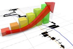 Growth bar chart with arrow and financial chart ba Stock Photo