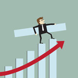 Growth bar chart. Businessman with a growth bar chart Stock Images