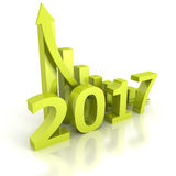 Growth bar chart 2017 new year with rising arrow. 3d render illustration Royalty Free Stock Photography