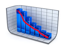 Growth bar chart and red arrow. Moving down Stock Image