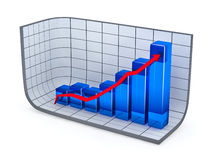 Growth bar chart and red arrow Royalty Free Stock Image