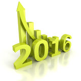 Growth 2016 Bar Chart With Rising Up Arrow. 3d Render Illustration Royalty Free Illustration