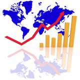 Growth. Bar graph and arrow represent growth profit in the business with world background Royalty Free Stock Photography