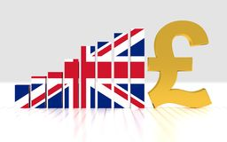 Growth bar graph of british pound. 3D rendering Stock Photography