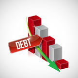 Growth bar graph of debt on white. Illustration design Stock Images
