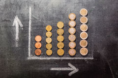 Growth on a black board Stock Photos