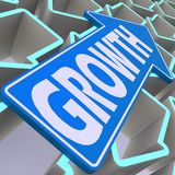 Growth blue arrow Royalty Free Stock Photo
