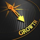 Growth. Business Background. Growth - Business Background. Golden Compass Needle on a Black Field Pointing to the Word Growth. 3D Render Stock Images