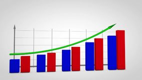 Growth business graph with arrow with alpha channel. Productivity growth business graph with arrow with alpha channel stock video footage