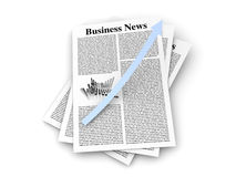 Growth in the Business News. Looking for the latest business news. 3d rendered Illustration. on white Stock Images