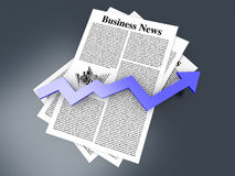 Growth in the Business News. Looking for the latest business news. 3d rendered Illustration Royalty Free Stock Photos