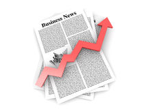 Growth in the Business News. Looking for the latest business news. 3d rendered Illustration Stock Photo