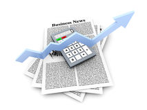 Growth in the Business News. Looking for the latest business news. 3d rendered Illustration Royalty Free Stock Image