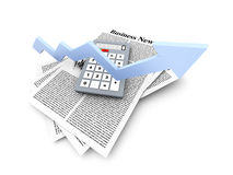 Growth in the Business News. Looking for the latest business news. 3d rendered Illustration Stock Photos
