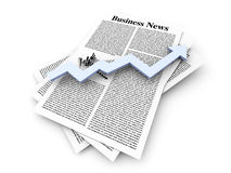 Growth in the Business News. Looking for the latest business news. 3d rendered Illustration Royalty Free Stock Photo
