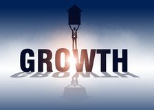 Growth. Businessman holding arrow and standing on growth. Vector royalty free illustration