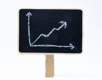 Growth Chart. On a blackboard in white background Royalty Free Stock Image