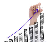 Growth chart. Hand drawing chart representing growth. business concept of success Royalty Free Stock Image