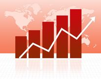 Growth chart. Illustration of a bar chart and Arrow on grid with world map background Stock Photo