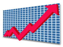 Growth chart. With red arrow isolated on white royalty free illustration