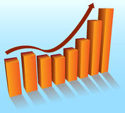 The growth chart. The chart reflecting positive dynamics Royalty Free Stock Photo