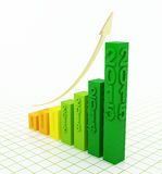 2015 growth chart. Bar graph with rising arrow stock illustration