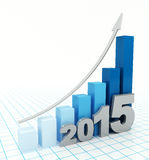 2015 growth chart. Bar graph with rising arrow Royalty Free Stock Photos