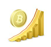 Growth chart with bitcoin sign Stock Photography