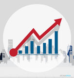 Growth chart with building background. Vector illustration. Royalty Free Stock Photos