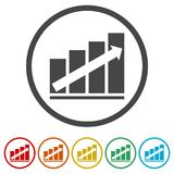 Growth chart, Business graph, 6 Colors Included. Simple  icons set Stock Photos