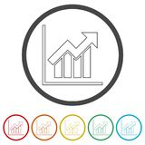Growth chart, Business graph, 6 Colors Included. Simple  icons set Stock Photography